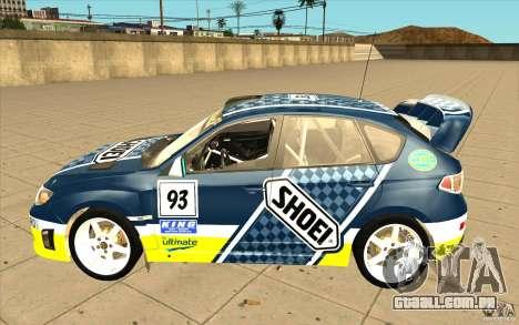 Novos vinis para Subaru Impreza WRX STi para GTA San Andreas vista inferior