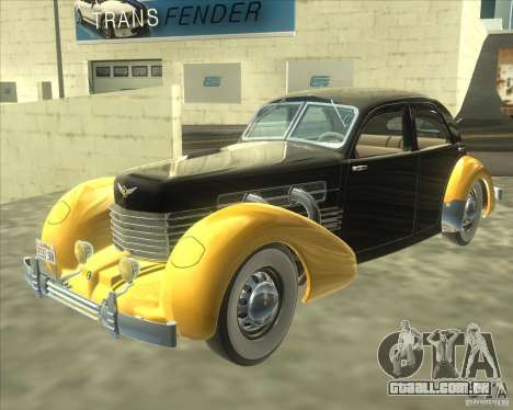 1937 Cord 812 Charged Beverly Sedan para GTA San Andreas traseira esquerda vista