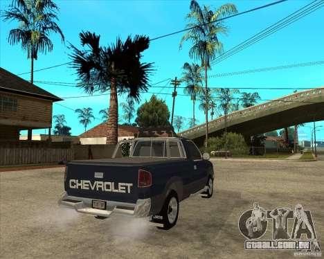1996 Chevrolet Blazer pickup para GTA San Andreas traseira esquerda vista