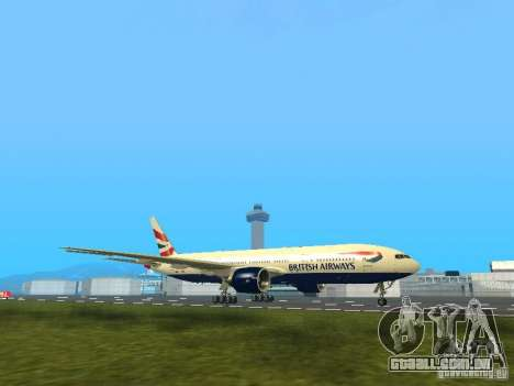 Boeing 777-200 British Airways para GTA San Andreas esquerda vista