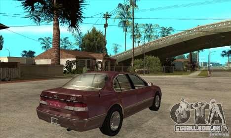 Infiniti I30 A32 Kouki para GTA San Andreas vista direita