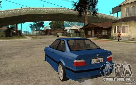 BMW M3 E36 1997 para GTA San Andreas traseira esquerda vista