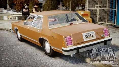 Ford Crown Victoria 1983 para GTA 4 vista superior