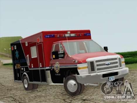 Ford E-350 AMR. Bone County Ambulance para GTA San Andreas esquerda vista