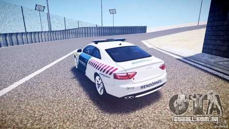 Audi S5 Hungarian Police Car white body para GTA 4 traseira esquerda vista