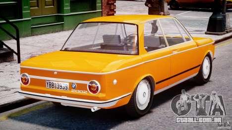 BMW 2002 1972 para GTA 4 vista superior