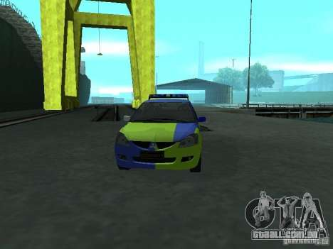 Polícia de Mitsubishi Lancer para GTA San Andreas vista interior