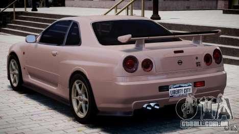 Nissan Skyline GT-R 34 V-Spec para GTA 4 vista direita