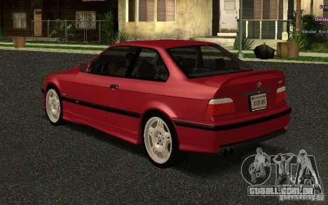 BMW E36 M3 1997 Coupe Forza para GTA San Andreas traseira esquerda vista
