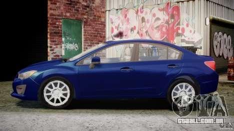 Subaru Impreza Sedan 2012 para GTA 4 esquerda vista