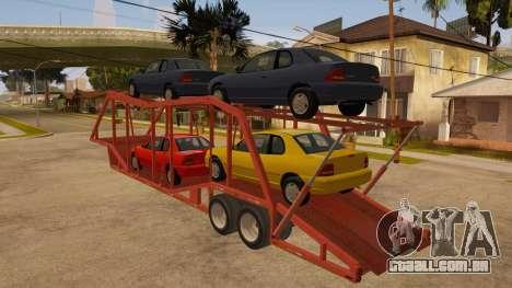 Caminhão semi-reboque para GTA San Andreas traseira esquerda vista