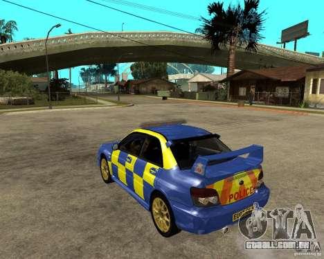 Subaru Impreza STi police para GTA San Andreas esquerda vista