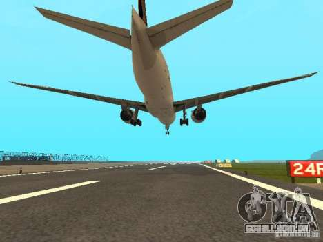 Boeing 777-200 Singapore Airlines para GTA San Andreas vista traseira