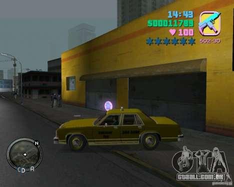 Ford Crown Victoria LTD 1985 Taxi para GTA Vice City vista traseira esquerda
