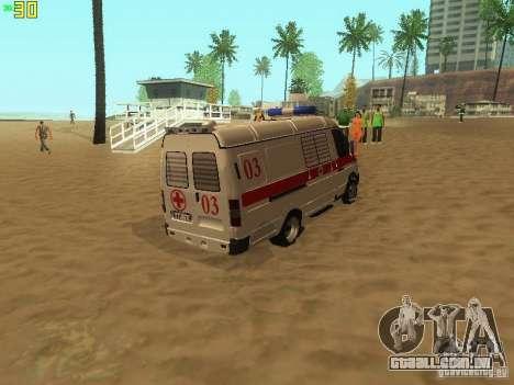 Ambulância de gazela 32214 para GTA San Andreas traseira esquerda vista