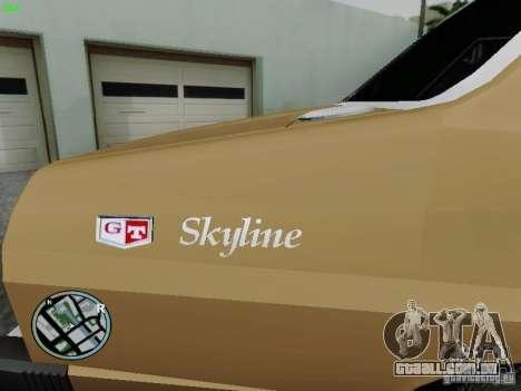 Nissan Skyline 2000GT C210 para GTA San Andreas traseira esquerda vista