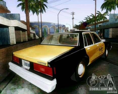 Chevrolet Impala 1986 Taxi Cab para GTA San Andreas esquerda vista