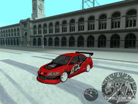 Mitsubishi Lancer Evolution 8 FQ400 para vista lateral GTA San Andreas