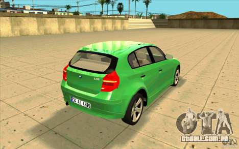 BMW 118i para vista lateral GTA San Andreas