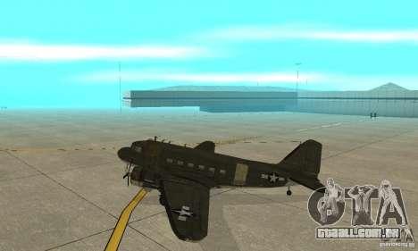 C-47 Skytrain para GTA San Andreas traseira esquerda vista