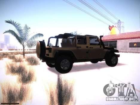 Jeep Wrangler Rubicon Unlimited 2012 para GTA San Andreas vista direita