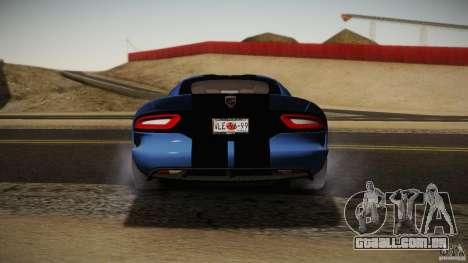Dodge Viper GTS 2013 para GTA San Andreas vista traseira