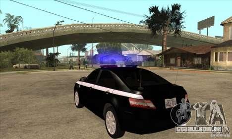 Toyota Camry 2010 SE Police RUS para GTA San Andreas traseira esquerda vista