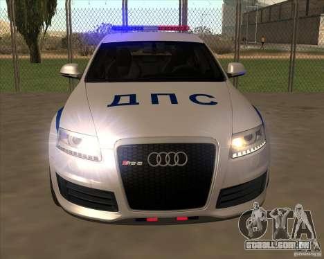Audi RS6 2010 DPS para GTA San Andreas vista interior