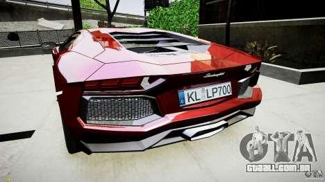 Lamborghini Aventador LP700-4 para GTA 4 vista direita