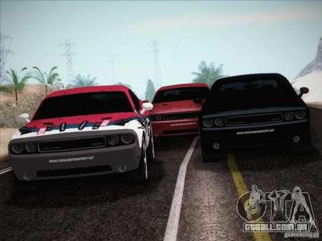 Dodge Challenger SRT8 2010 para GTA San Andreas vista inferior