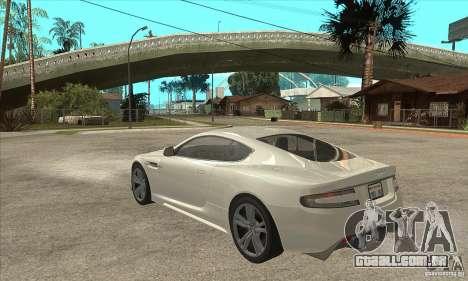 Aston Martin DBS para GTA San Andreas traseira esquerda vista