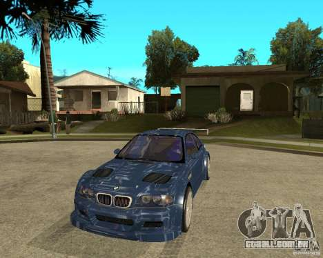 BMW M3 GTR de Need for Speed Most Wanted para GTA San Andreas vista traseira