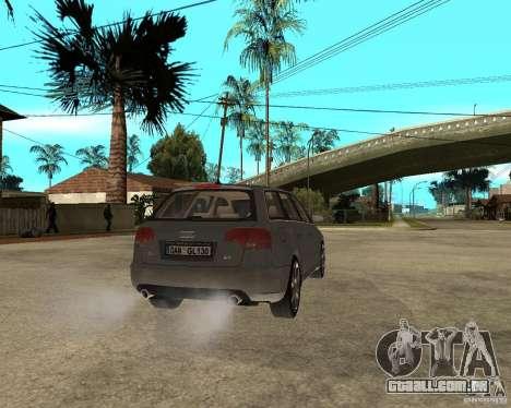 Audi A4 2005 Avant 3.2 quattro para GTA San Andreas traseira esquerda vista