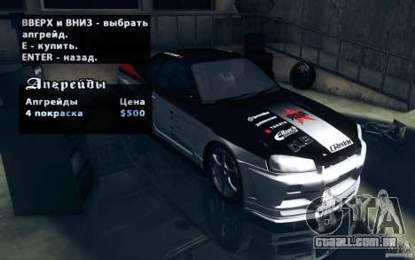 Nissan Skyline GTR R34 VSpecII para GTA San Andreas vista traseira