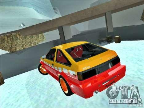 Toyota Trueno AE86 Calibri-Ace para GTA San Andreas traseira esquerda vista