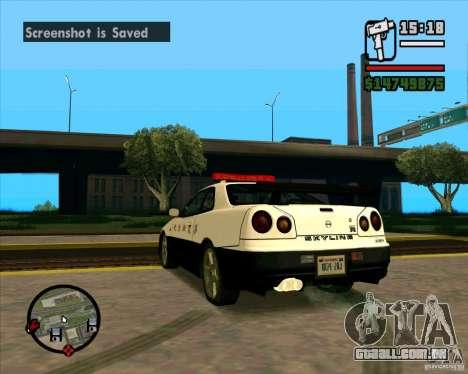 Nissan Skyline Japan Police para GTA San Andreas traseira esquerda vista