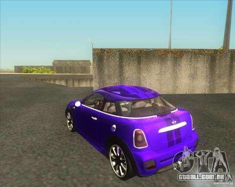 Mini Coupe 2011 Concept para GTA San Andreas traseira esquerda vista