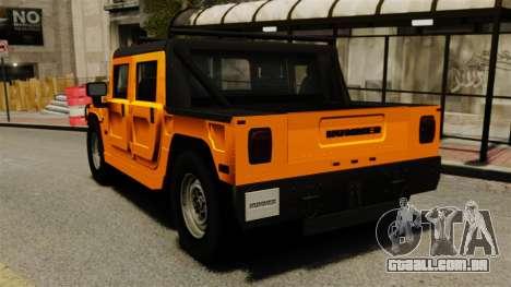 Hummer H1 para GTA 4 traseira esquerda vista