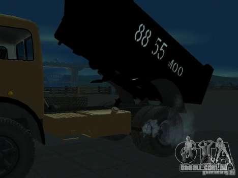 Caminhão de descarga MAZ 503a para GTA San Andreas traseira esquerda vista