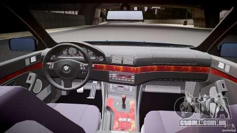 BMW 530I E39 e63 white wheels para GTA 4 vista de volta