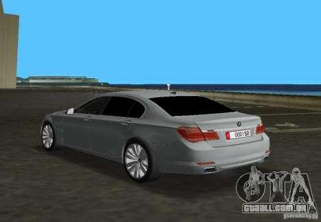 BMW 750 Li para GTA Vice City vista traseira esquerda
