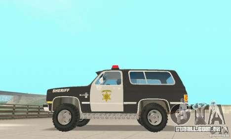 Chevrolet Blazer Sheriff Edition para GTA San Andreas vista traseira