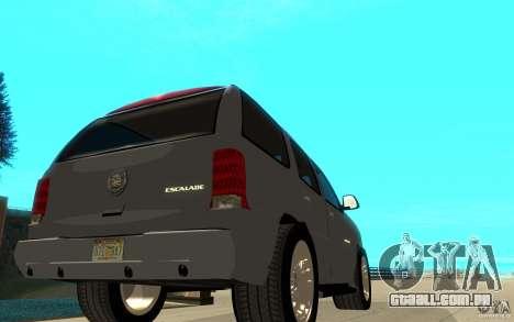 Cadillac Escalade para vista lateral GTA San Andreas