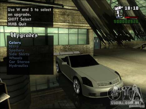 Cadillac XLR para GTA San Andreas vista traseira