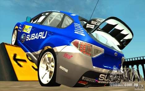 Novo vinil para Subaru Impreza WRX STi para GTA San Andreas traseira esquerda vista