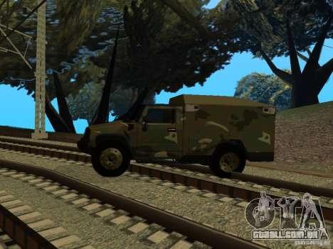 Hummer H2 Army para GTA San Andreas traseira esquerda vista