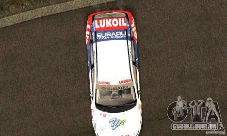 Subaru Impreza WRX STi Russia Rally para vista lateral GTA San Andreas