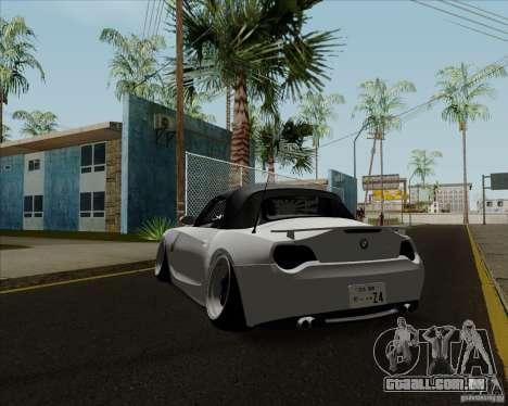 BMW Z4 Hellaflush para GTA San Andreas traseira esquerda vista
