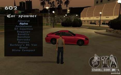 Vehicles Spawner para GTA San Andreas quinto tela