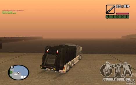Caminhão de lixo Scania T164 para GTA San Andreas traseira esquerda vista